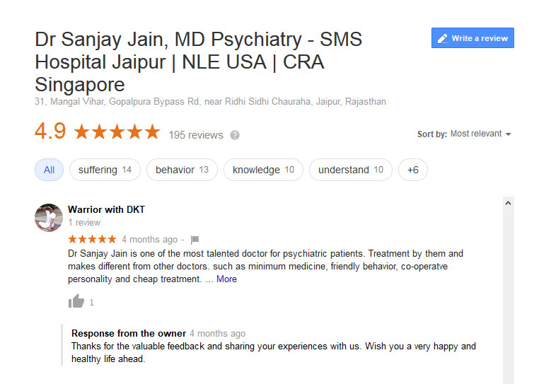 OCD Treatmen Patiant Google Review